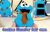 DIY, mobiele voelde geval als de Cookie Monster, gemakkelijk ambachten