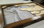 Maken van laser gesneden bathymetrische kaarten