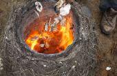 Branden Seashell Lime in een primitieve stro/klei-oven!