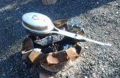 Verlichte camping popcorn maker - van aluminium kruk