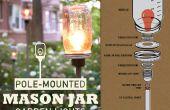 Paal gemonteerde Mason Jar tuin verlichting