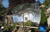 Maken van een parabolische zonne-schotel uit een 8 bij 4 vel plastic (zonder teveel afvalstoffen)
