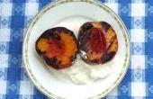 Gegrilde perziken en slagroom
