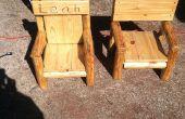 Rustieke Log Kinder stoel van teruggewonnen hout