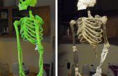 DIY skelet gemaakt van stokken, String, schuim en Mache'