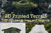3D afgedrukt terrein van Google Maps met SketchUp
