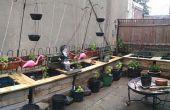 Buiten plantenbakken van regen vaten en Pallets