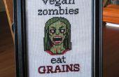 Vegan zombie cross stitch + patroon