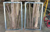Koper en messing bamboe in staal Frame muur opknoping Sculpture