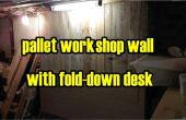 Pallet hout workshop panneling met vouw naar beneden Bureau