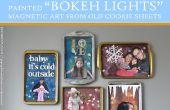 """""""Lights Bokeh"""" magnetische kunst (uit oude cookie vellen) geschilderd"""