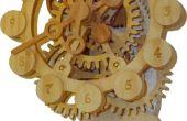 Een versnelling van de houten klok met een unieke aandrijfmechanisme
