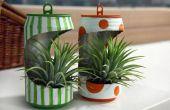 Recycling van oude blikje in mini bloem planter