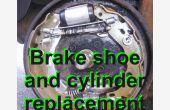 Ter vervanging van de achterste remschoenen en een remcilinder op een ' 06 Citroen C3