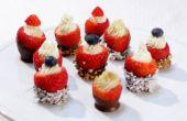 Roomkaas gevulde chocolade gedimde aardbeien