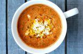 Geroosterde tomatensoep met kikkererwten en Israëlische Couscous brand