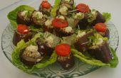 Aubergines (aubergines) met walnoot plakken vulling