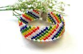 Hoe maak je een handgemaakte Rainbow 2 holes zaad kralen brede armband voor zomer