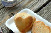 Schattig hart gevuld diner rollen | Kokosnoot broodjes