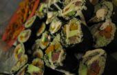 Quinoa bataat Avocado + struisvogel Sushi.