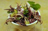 Inktvis salade met bloedsinaasappel en Avocado