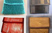 Portemonnee / tas gemaakt van gras, hout, cokes-labels en tarp