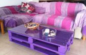 Houten Pallet salontafel op wielen voor woonkamer