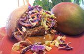 Geen rook trok varkensvlees in Mango BBQ saus met oranje smaak Cole Slaw