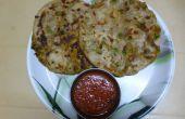 Gevulde pratha met groene erwten - aardappel Masala