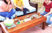 Buiten tafel met koelbox koeler