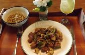 Sesam varkensvlees met bloemkool, SHIITAKE PADDESTOELEN & sneeuw ERWT peulen IN een glutenvrij, soja-vrije, TERIYAKI saus