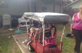 Zelf aangedreven Kiddo Chariot uit oude tuin wagen en mobiliteit scooter met een budget van $100 tot $200.