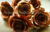 Metalen rozen kunst, koper en staal sculpture