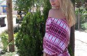 Stijlvolle zomerjurk met behulp van een t-shirt voor het patroon