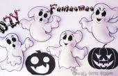 4 spoken schuimend of EVA voor Halloween   DIY  ---4 Fantasmas de Foamy o goma eva para Halloween   DIY  
