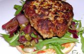 Eggless varkensvlees & kalfsvlees hamburgers met balsamico rode ui & caper snoepen!