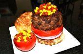 De moleculaire Hamburger w / Ketchup en mosterd kaviaar