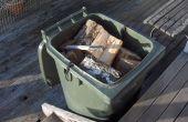 Een verstelbare vloer naar een wheelie bin brandhout container past