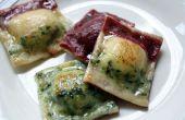 Gluten-Free Tri-gekleurde Ravioli met geroosterde pompoen, kikkererwten, geroosterde knoflook en gekarameliseerde ui