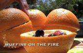 Oranje Muffins op het vuur