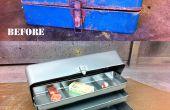 Herstellen van een roestige oude pakken doos met zand stralen & poedercoating