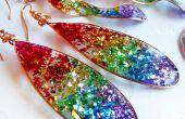 Regenboog hars Glitter oorbellen