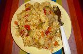 Een goed uitgebalanceerde voedzame voeding: verhit rijst met linzen en groenten
