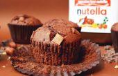 Nutella chocolade Chip Muffins, met een Nutella-truffel centrum
