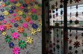 Kleurrijke papier bloem gordijn