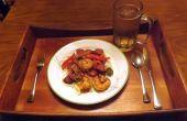 PECAN GEROOKTE worst & GARNALEN IN een creoolse mosterd saus met PAPRIKA & uien