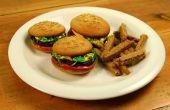 Hamburger Cupcakes met suiker Cookie frietjes