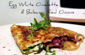 Eiwit omelet met balsamico rode uien
