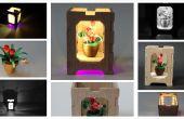 Miniatuur bloempot met houten kist - lampenkap door nacht quilled