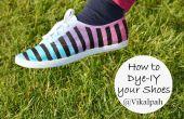 Draai uw witte canvas schoenen kleurrijke driehonkslag gestemde gestreepte schoenen met behulp van de kleurstof